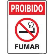 """Imagem de Placa de Poliestireno """"Proibido Fumar """" 25cm x 15cm Branco - Sinalize"""