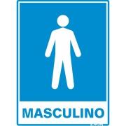 """Imagem de Placa de Poliestireno """"Sanitário Masculino """" 20cm x 15cm Branco - Sinalize"""