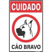 """Imagem de Placa de Poliestireno """"Cuidado Cão Bravo Ilustrada """" 30cm x 20cm Branco - Sinalize"""