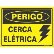 """Placa de Poliestireno """"Perigo Cerca Elétrica """" 15cm x 20cm Amarelo - Sinalize"""