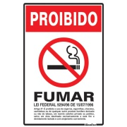 "Placa de Poliestireno ""Proibido Fumar Lei Federal "" 30cm x 20cm Branco - Sinalize"