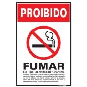 "Imagem de Placa de Poliestireno ""Proibido Fumar Lei Federal "" 30cm x 20cm Branco - Sinalize"