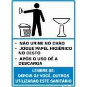 """Imagem de Placa de Poliestireno """"Procedimento Sanitário Masculino """" 20cm x 15cm Branco - Sinalize"""