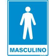 """Placa de PVC """"Sanitário Masculino """" 20cm x 15cm Azul - Sinalize"""