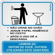 "Placa de PVC ""Procedimento Sanitário Masculino "" 15cm x 20cm Branco - Sinalize"