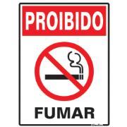 """Placa de PVC """"Proibido Fumar """" 20cm x 15cm Branco - Sinalize"""