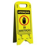 """Imagem de Placa de Poliestireno """"Atenção Em Manutenção """" 53cm x 20cm Amarelo - Sinalize"""