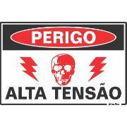 """Imagem de Placa de Poliestireno """"Perigo De Vida Alta Tensão """" 30cm x 20cm Branco - Sinalize"""