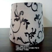 Cúpula para Abajur Tambor em Tecido 25cm x 30cm Preto - Ramo Cúpulas São Jorge