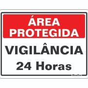 """Imagem de Placa de Poliestireno """"Área Protegida Vigilância 24h """" 15cm x 20cm Branco - Sinalize"""