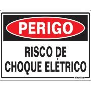 """Placa de Poliestireno """"Perigo Risco De Choque Elétrico """" 15cm x 20cm Branco - Sinalize"""