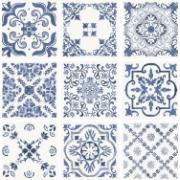 Porcelanato Azulejo Português HD Tipo A Retificado 52,5x52,5cm Azul - Livre
