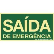 """Placa de PVC """"Saída De Emergência """" 15cm x 30cm Verde - Sinalize"""