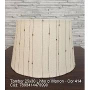 Imagem de Cúpula para Abajur Tambor em Tecido 25cm x 30cm Branco - Linho Com Marrom Cúpulas São Jorge