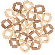 Imagem de Descanso de Panela Redondo de Bambu 18 cm Marrom Claro - Mundiart