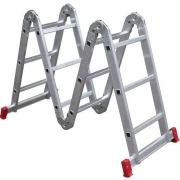 Escada Multifuncional em Alumínio 3,39m 12 Degraus Prata 150kg - Botafogo