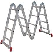 Imagem de Escada Multifuncional em Alumínio 4,51m 16 Degraus Prata 150kg - Botafogo