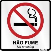 """Imagem de Placa de Alumínio """"Proibido Fumar """" 15cm x 15cm Prata - Sinalize"""
