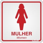"""Placa de Alumínio """"Sanitário Feminino """" 15cm x 15cm Vermelho - Sinalize"""