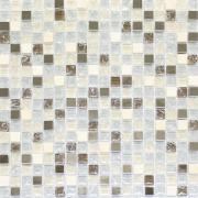 Pastilha de Vidro e Pedra Brilhante 1,5x1,5cm Bege - Grieta Metal - Vetromani