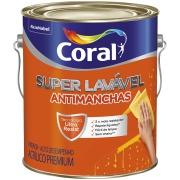 Tinta Acrílica Eggshell Premium 3,6L - Branco Neve - Super Lavável Coral