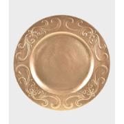 Sousplat Redondo Plástico 33cm Dourado 41277-152 - G.Presentes