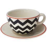 Imagem de Xícara De Chá De Cerâmica 270ml Com Pires Branco - Yoi