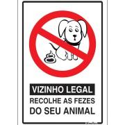 """Imagem de Placa de Poliestireno """"Atenção Vizinho Legal """" 30cm x 20cm Branco - Sinalize"""