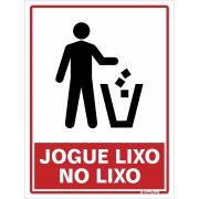 "Placa de Poliestireno ""Jogue No Lixo "" 20cm x 15cm Branco - Sinalize"