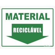 """Imagem de Placa de PVC """"Material Reciclável """" 15cm x 20cm Verde - Sinalize"""