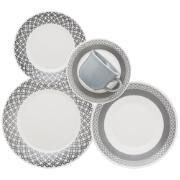 Imagem de Aparelho de Jantar de Cerâmica 20 Peças Cinza - Biona
