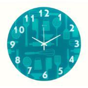 Imagem de  Relógio de Parede com Vidro Cozinha Gourmet 33,5 cm Azul 1039 - Relobraz
