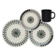 Aparelho de Jantar de Cerâmica 12 Peças Folk Preto - Biona