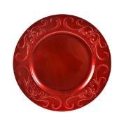 Imagem de Sousplat Redondo de Plástico 33cm Vermelho 41277-009 - G.Presentes