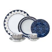 Aparelho de Jantar de Porcelana 42 Peças Emirantes Azul - Rojemac