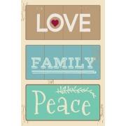Placa Decorativa em MDF 30x20 cm Love Family Peace 68416 - Kapos