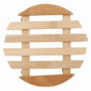 Imagem de Descanso de Panela Redondo de Bambu 16cm Marrom Claro - Yangzi