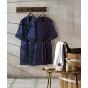 Roupão de Banho Adulto Unicolor Liso P com Cinto Azul Escuro - Dohler