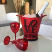 Balde para Gelo de Plástico 3 Peças Vermelho LOVE-4 - Az Design