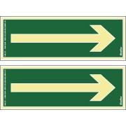 """Placa de PVC """"Seta Reta De Emergência Para Rodapés """" 30cm x 14cm Verde Escuro - Sinalize"""