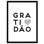 Quadro Decorativo 73x53 cm Gratidão Preto 541045 - Euroquadros