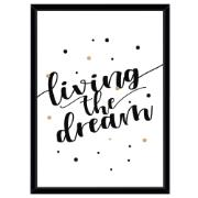Quadro Decorativo 73x53 cm Living The Dream Preto 540543  Euroquadros