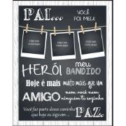 Imagem de Quadro Decorativo Porta Foto 40x30 cm Pai Você Foi Meu Herói Preto - Art Frame