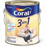 Imagem de Tinta Acrílica Fosco Premium 3,6L - Branco Neve - 3 Em 1 Coral