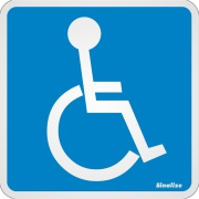 "Imagem de Placa de Alumínio ""Deficiente Físico "" 15cm x 15cm Azul - Sinalize"