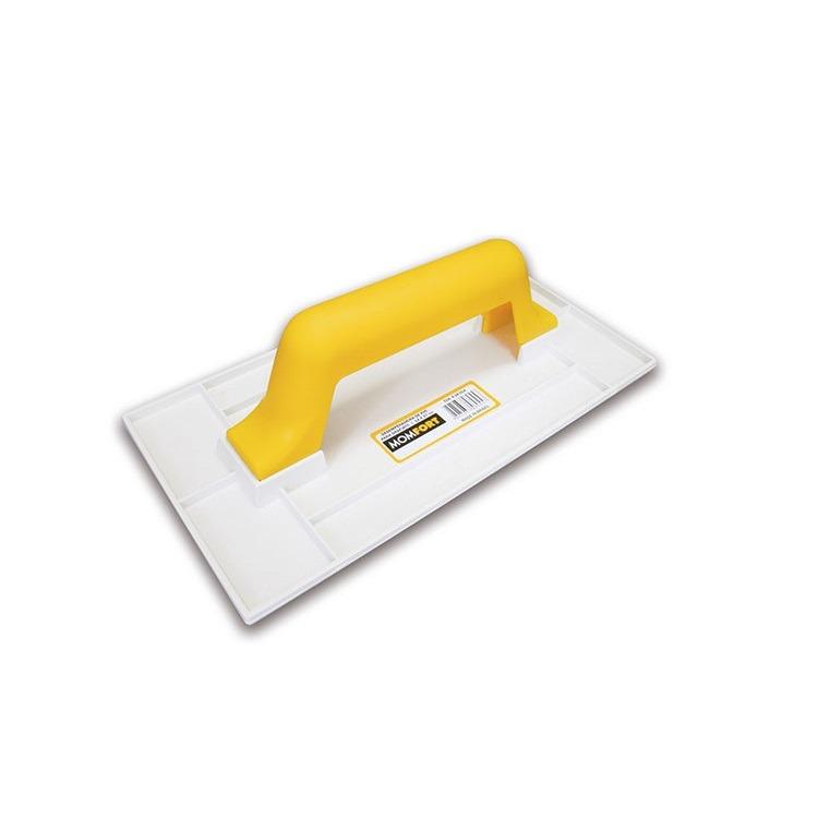 Desempenadeira Plastica Texturizada 17cm x 30cm Cabo Fechado de PVC Branco - Momfort