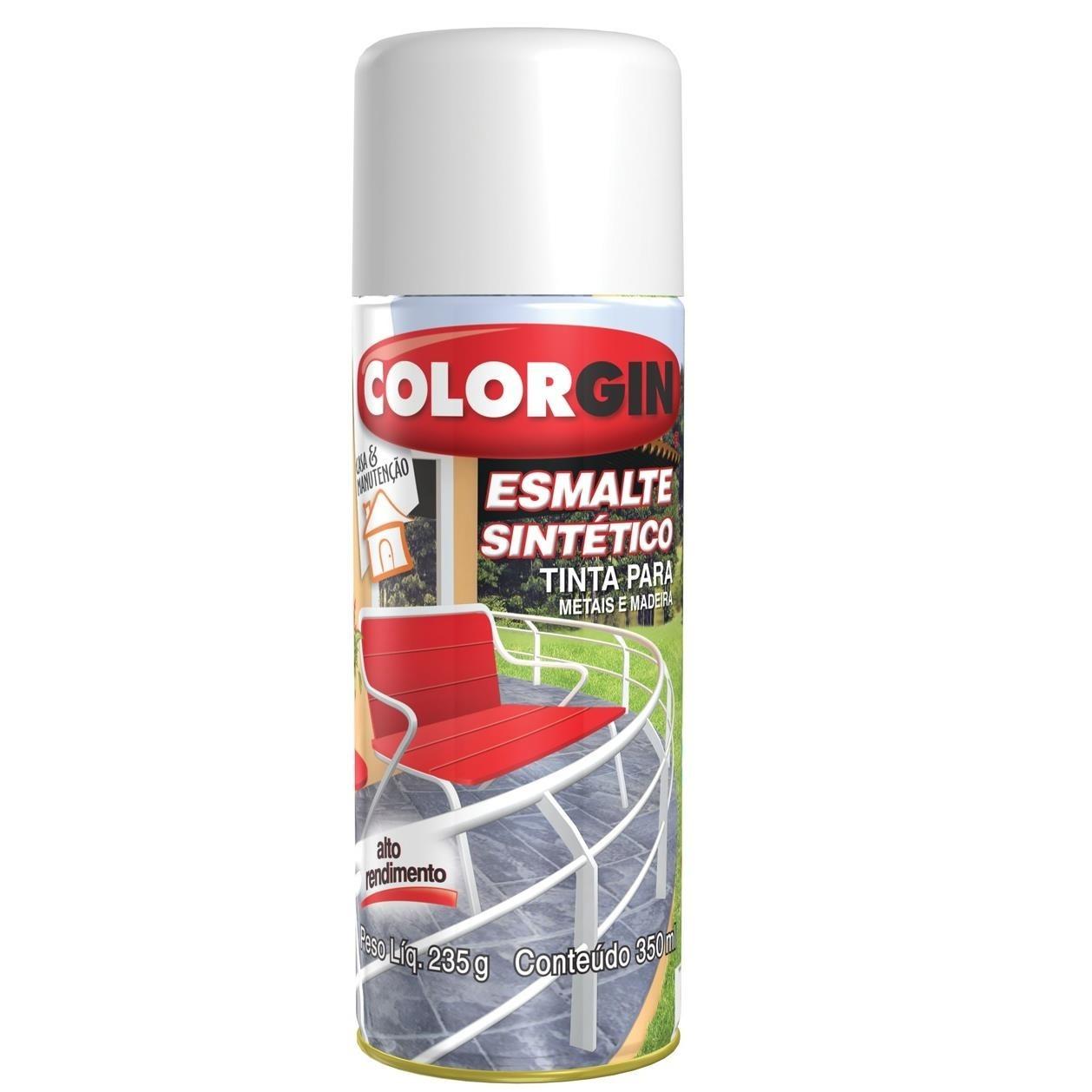 Tinta Spray Brilhante Esmalte sintetico Interno e Externo - Amarelo - 350ml - Colorgin