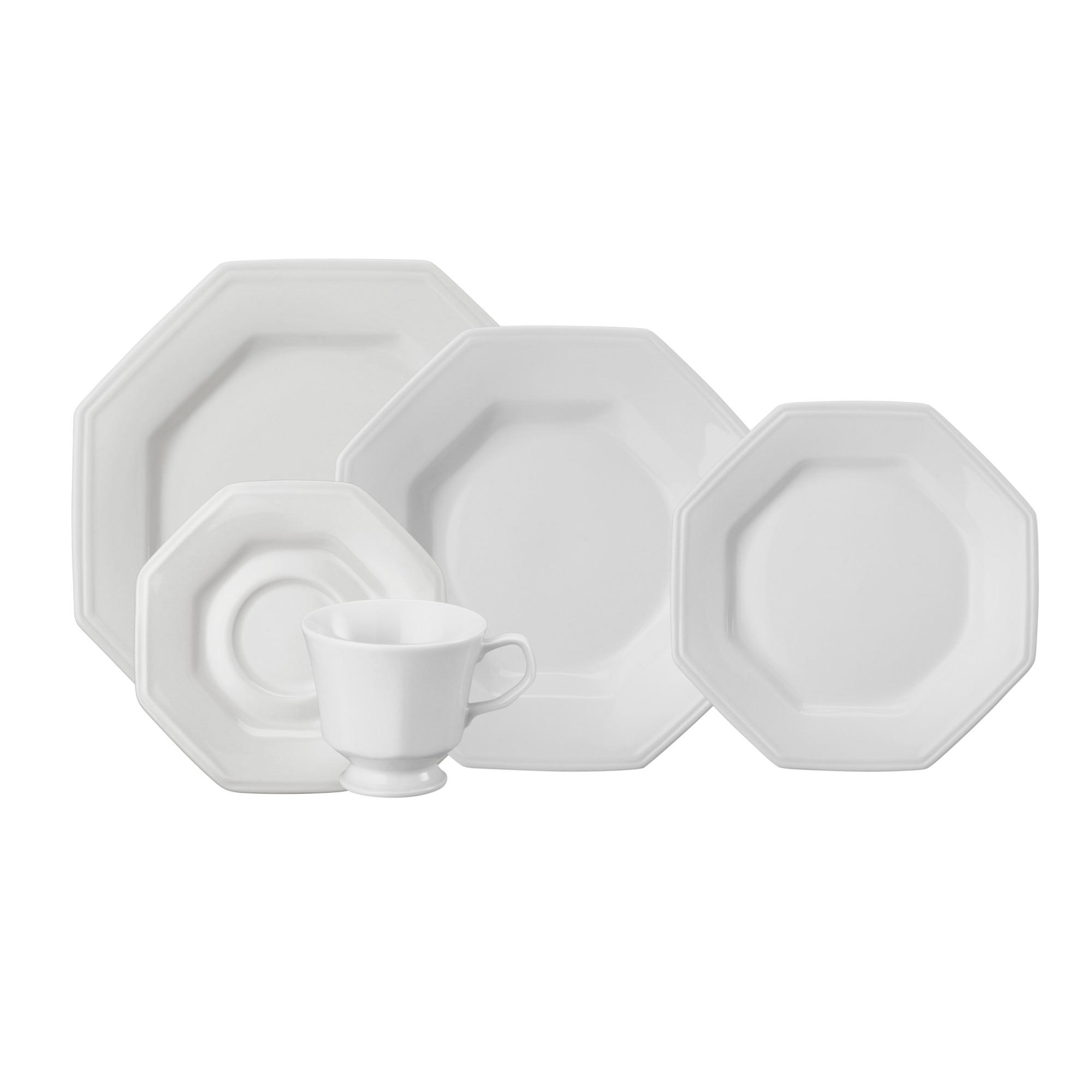 Aparelho de Jantar de Porcelana 20 Pecas Prisma Branco - Schmidt