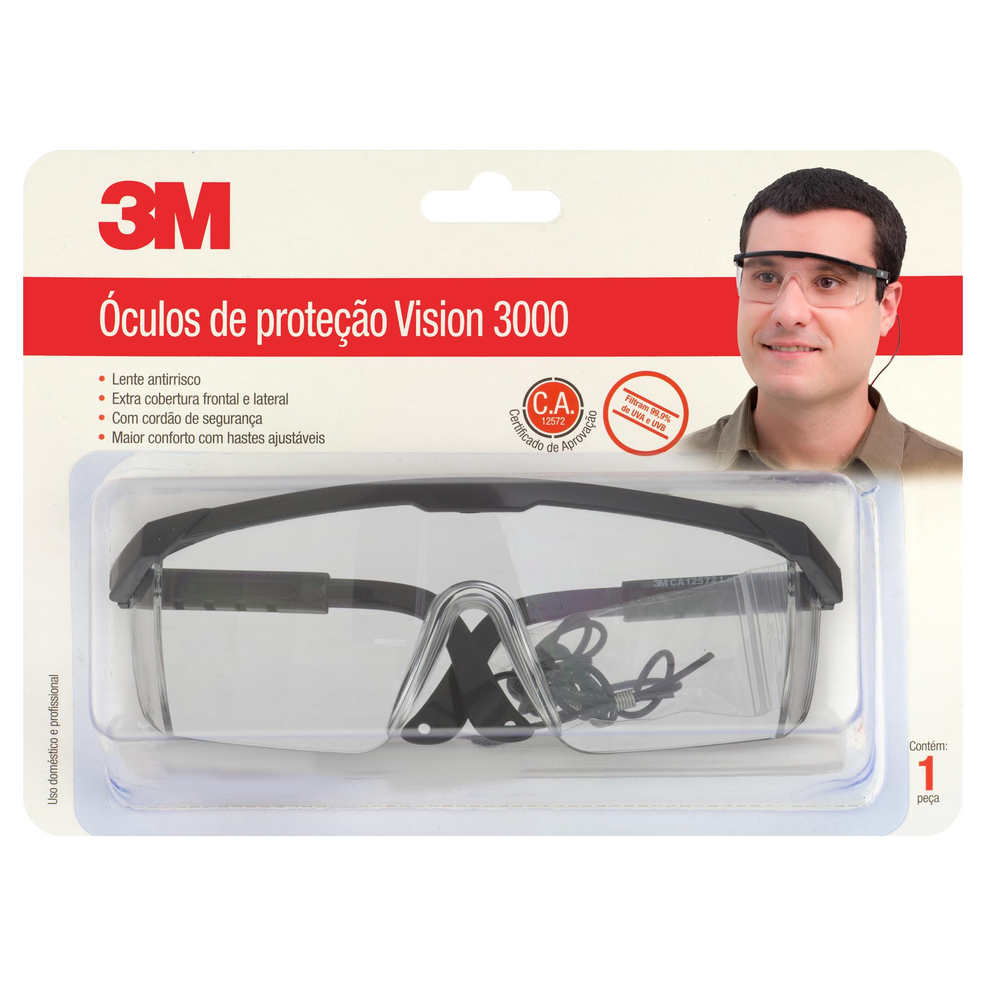 778e894de Óculos Proteção Polipropileno Vision 3000 Incolor - 3M aqui na ...