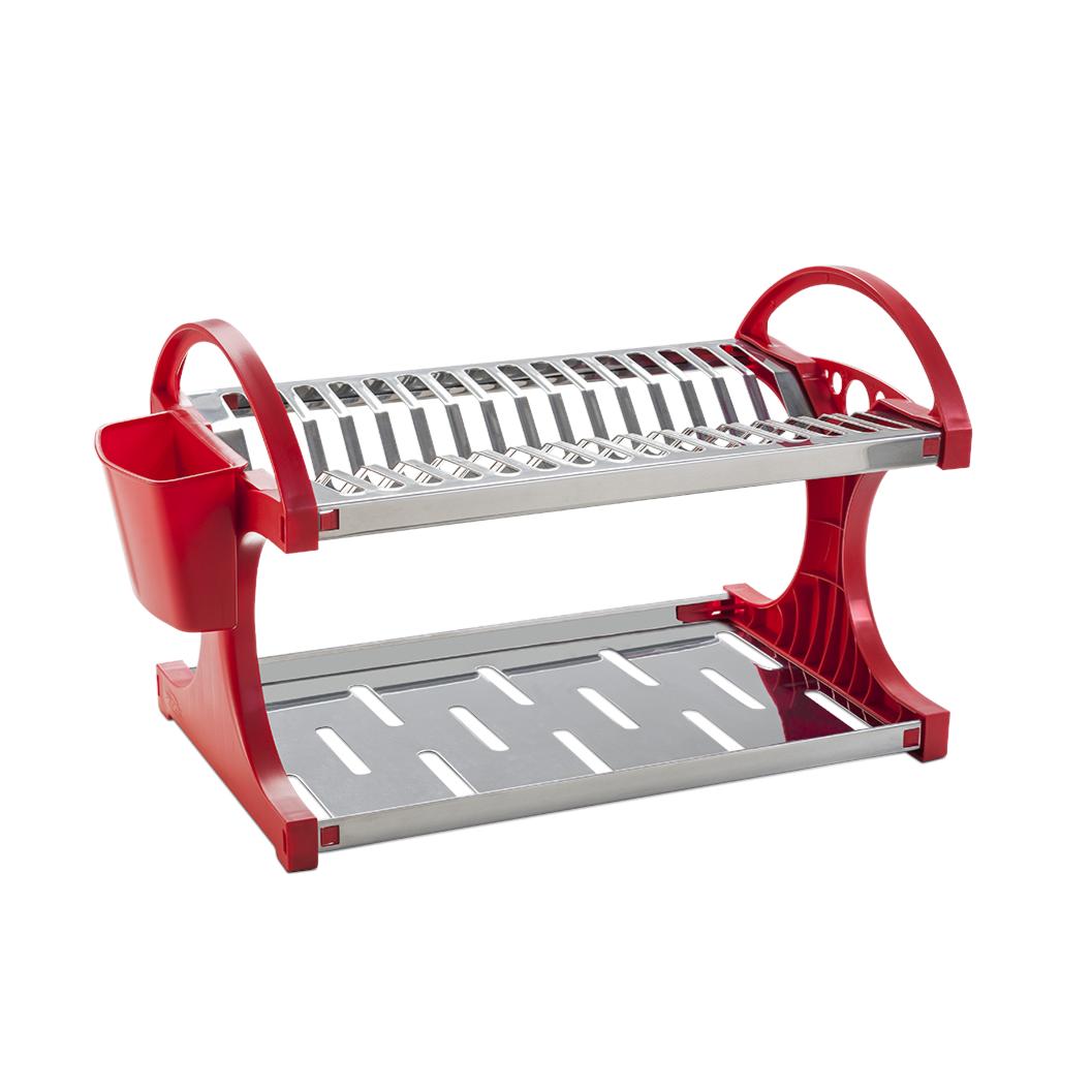 Escorredor de Loucas Aco Inox e Plastico com Porta Talheres 16 Pratos Vermelho - Brinox